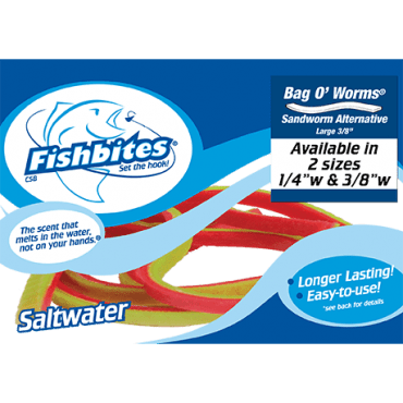 Fishbites Bag O' Worms® – Longer Lasting Sandworm Red/Chartreuse
