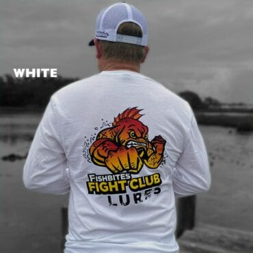 Fishbites Fight Club Lure Long Sleeve T-Shirts - WHITE